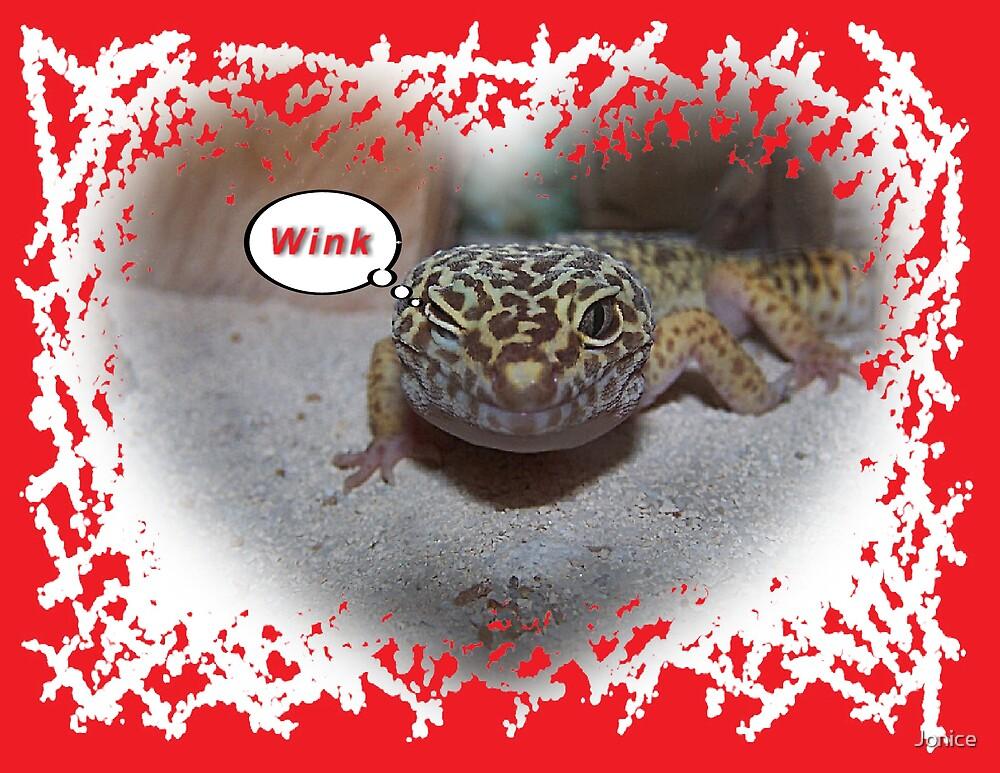 Leopard Gecko Lizard Winking  Valentines Card by Jonice