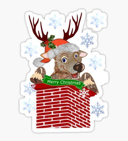 Reindeer down the chimney  (2623 Views) Sticker