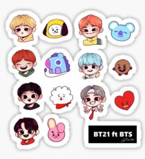 BT21 ft BTS Sticker