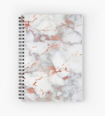 Rose Gold Veined Marble Spiral Notebook