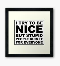 I try to be nice, but stupid people ruin it for everyone Framed Print