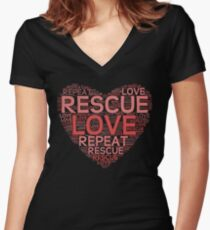Rescue, Love, Repeat Women's Fitted V-Neck T-Shirt