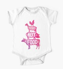 Friends Not Food - Vegan Vegetarian Animal Lovers T-Shirt - Vintage Distressed One Piece - Short Sleeve