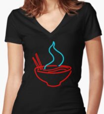 Spicy Ramen Noodles Neon Women's Fitted V-Neck T-Shirt