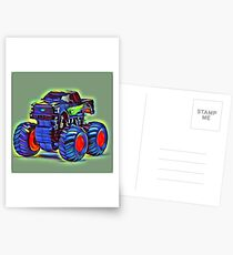 Big Blue Art Abstract Truck Postcards