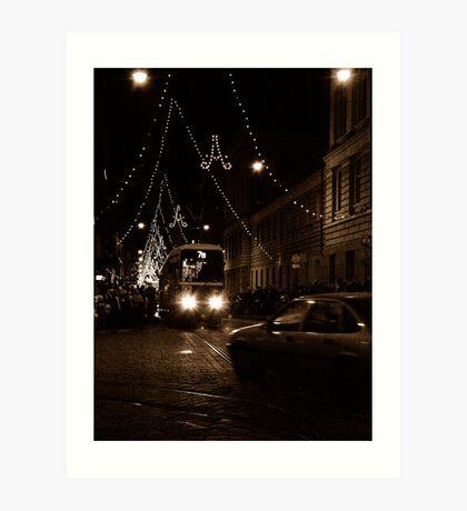 "City Life - ""Night Tram 7B"" Art Print"