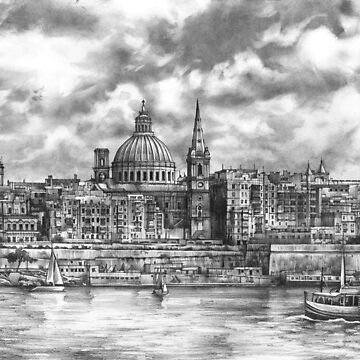 View of the city of Malta - pencil drawing by kkmiecikart