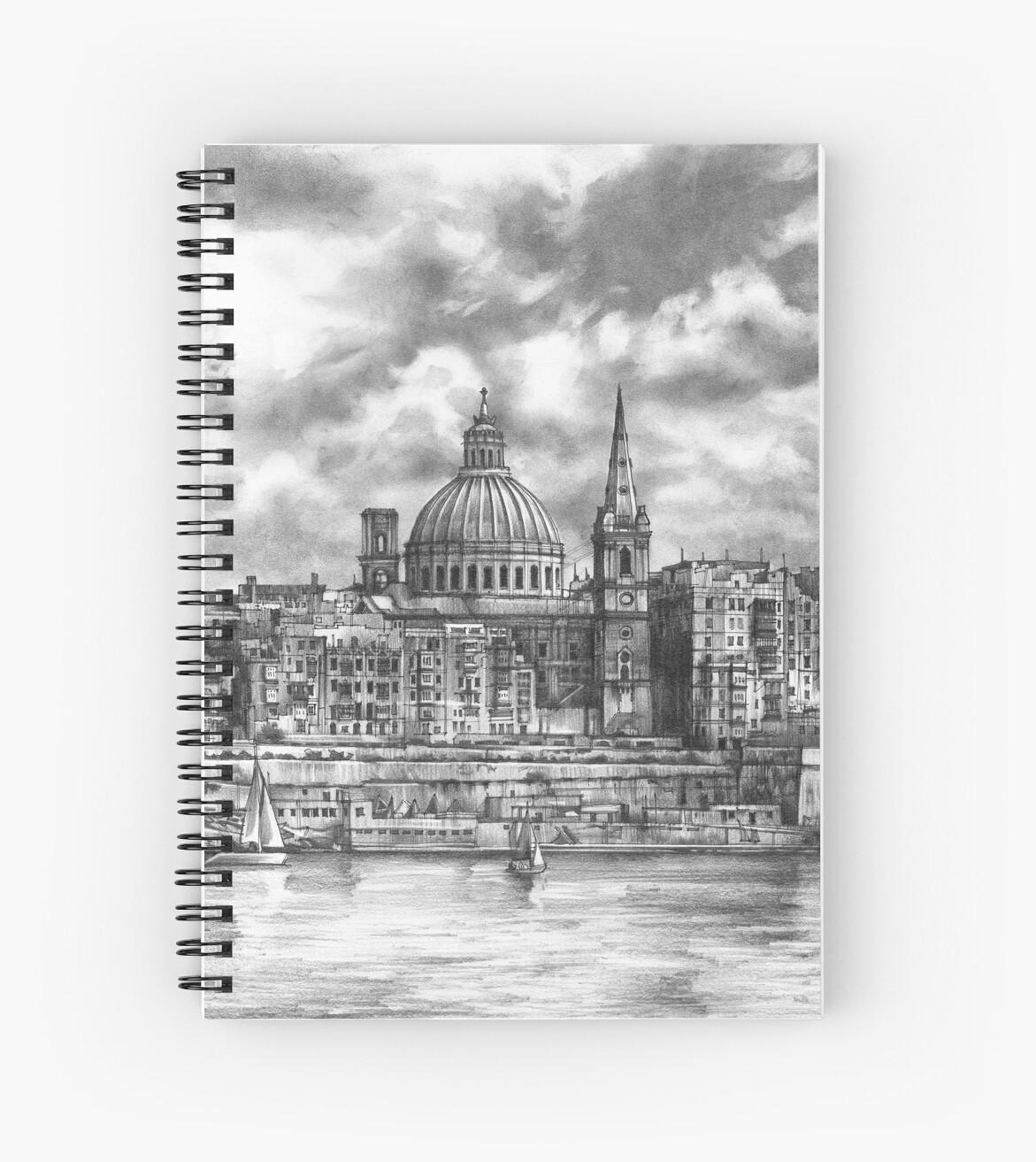 View of the city of malta pencil drawing spiral notebook by katarzyna kmiecik