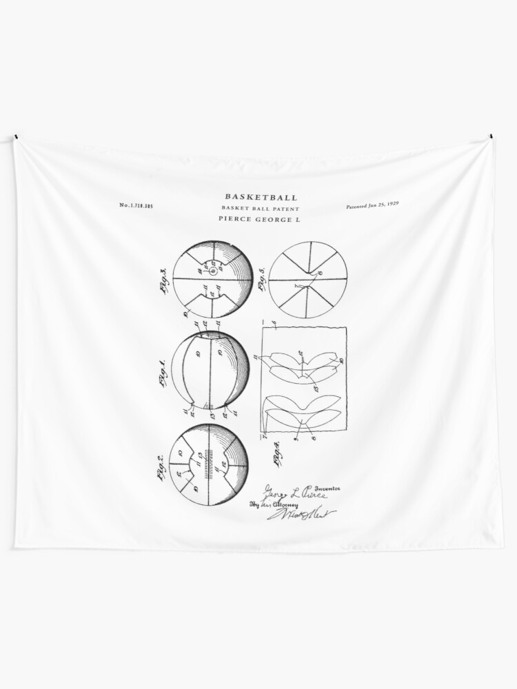 Basketball Patent Drawing Blueprint Wall Tapestry By Vintago