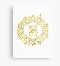 Good Vibes Only Golden Metal Print