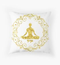 Yoga Golden Throw Pillow