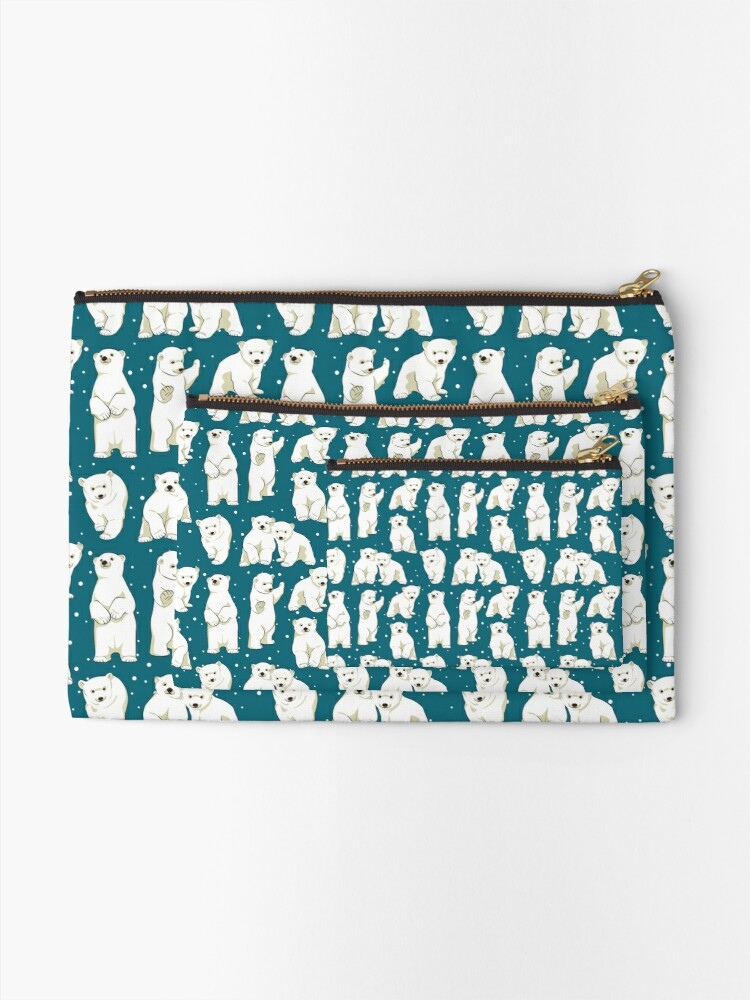 Alternate view of Cute Polar Bear Cubs Zipper Pouch