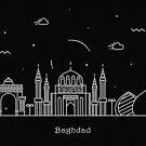 Baghdad Skyline Minimal Line Art Poster by A Deniz Akerman