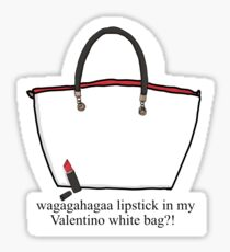 Lipstick in my Valentino white bag?! Sticker