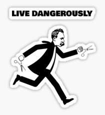 Nietzsche Running With Scissors - Live Dangerously - Fun Philosophy Shirt Sticker
