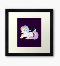 Sitting Pretty Unicorn Emoji Framed Print