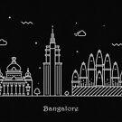 Bangalore Skyline Minimal Line Art Poster by A Deniz Akerman