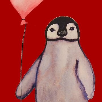 Watercolor Penguin with Heart Balloon by bethcentral