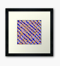 geometric pixel square pattern abstract background in orange blue purple Framed Print