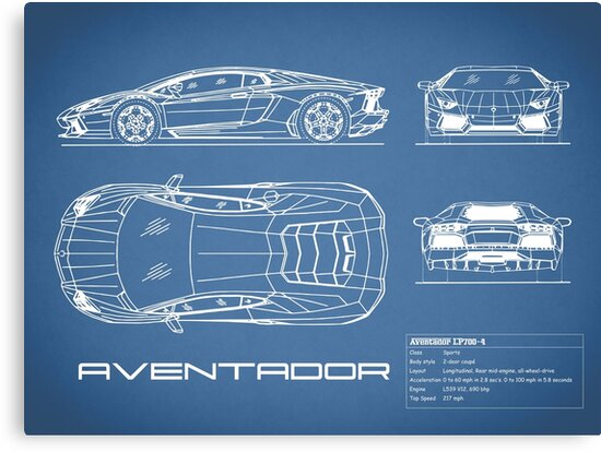 The aventador blueprint canvas prints by rogue design redbubble the aventador blueprint by rogue design malvernweather Gallery