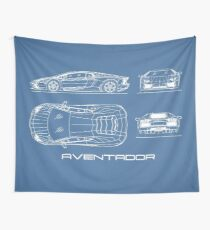 The Aventador Blueprint Wall Tapestry