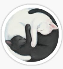 Yin Yang Balancing Cats Sticker