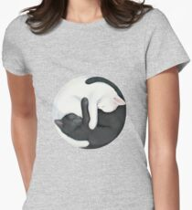 Yin Yang Balancing Cats Women's Fitted T-Shirt
