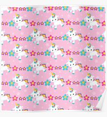 Pretty Pink Baby Unicorn Pattern Poster