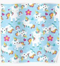 Baby Unicorn-  Blue Background Unicorn Pattern Poster