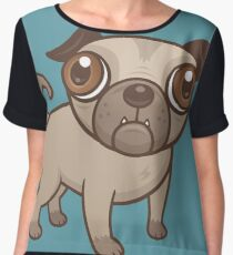 Pug Puppy Cartoon Chiffon Top