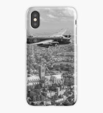 Lancaster City of Lincoln over Lincoln B&W version iPhone Case