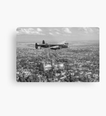 Lancaster City of Lincoln over Lincoln B&W version Metal Print
