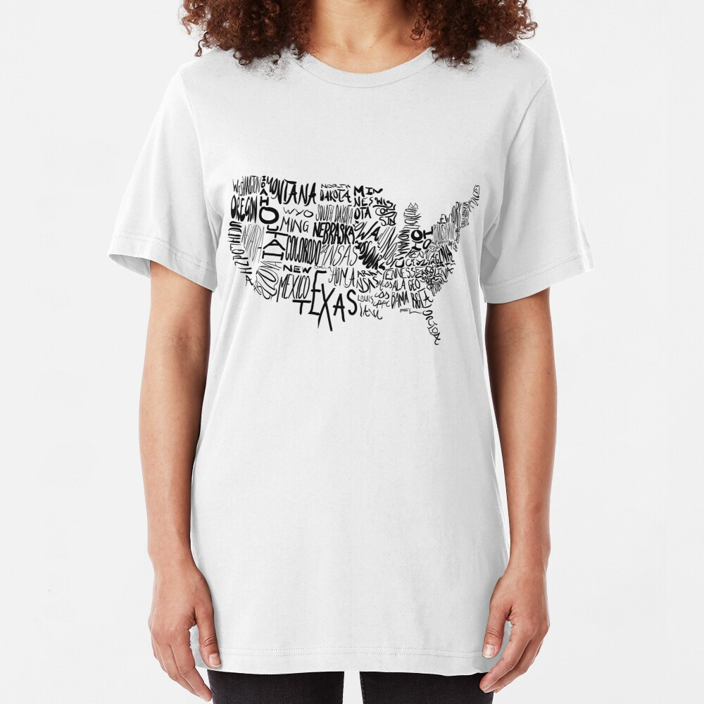 Typographical USA Map Slim Fit T-Shirt