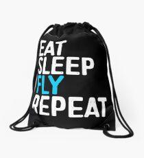 Eat Sleep Fly Repeat Drawstring Bag