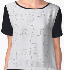 Jigsaw Puzzle Lines Design Chiffon Top