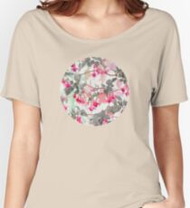 Rainbow Fuchsia Floral Pattern - with grey Women's Relaxed Fit T-Shirt