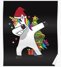 Dabbing Unicorn T-Shirt Funny Xmas Christmas Dab Tee Poster