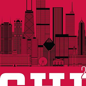 """Chicago Squared"" Skyline black, white, red by MetzgerAndSons"