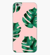 Tropical fern leaves on peach iPhone Case