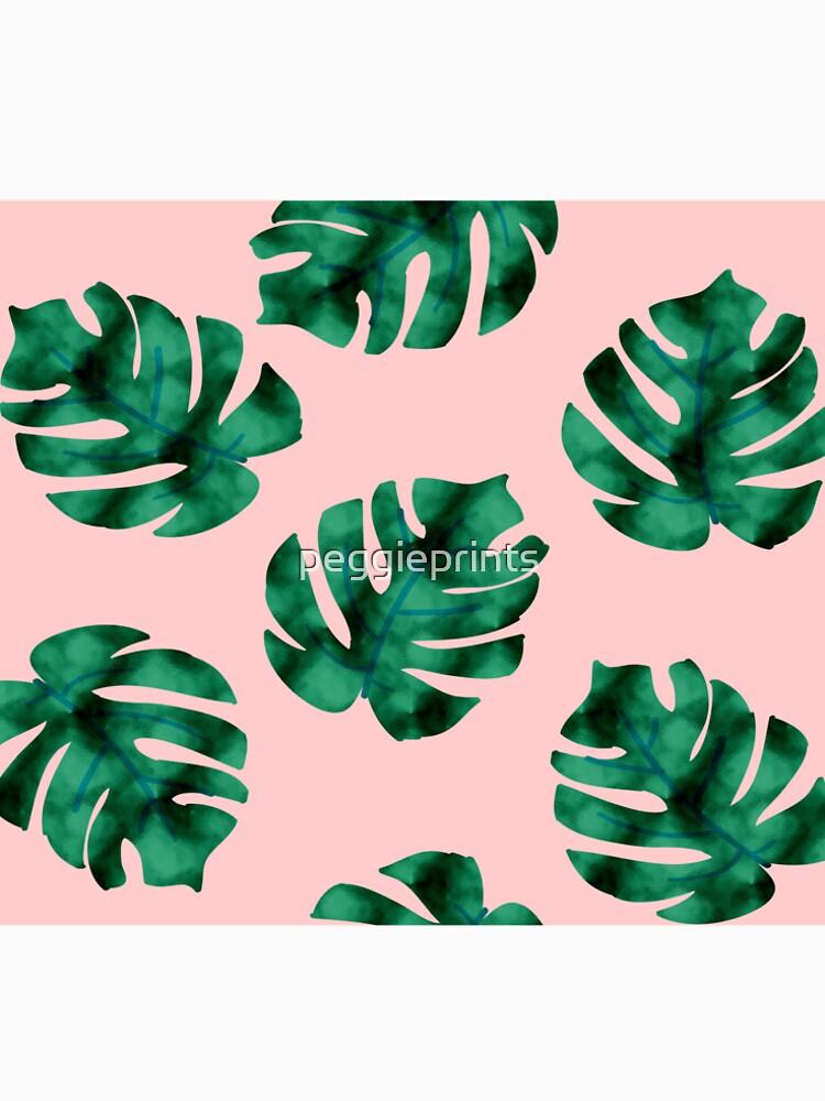 Tropische Farnblätter auf Pfirsich von peggieprints