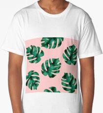 Tropical fern leaves on peach Long T-Shirt