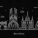 Barcelona Skyline Minimal Line Art Poster by A Deniz Akerman