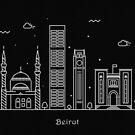 Beirut Skyline Minimal Line Art Poster by A Deniz Akerman