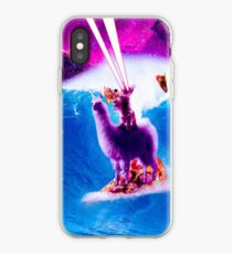 Laser-Augen-Raum-Katzen-Reiten auf surfendem Lama-Einhorn iPhone-Hülle & Cover