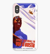 Vintage Travel Poster - Winter Sports in Val d'Aosta iPhone Case/Skin