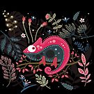 Pink chameleon and the flowers by craftipixel