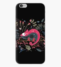 Pink chameleon and the flowers iPhone Case