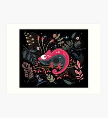 Pink chameleon and the flowers Art Print