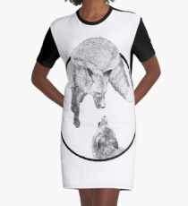 The Fox Playing Graphic T-Shirt Dress