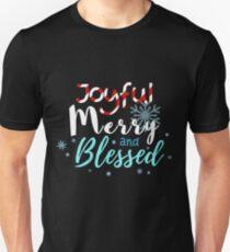 Joyful Merry And Blessed Christmas Shirt Unisex T-Shirt